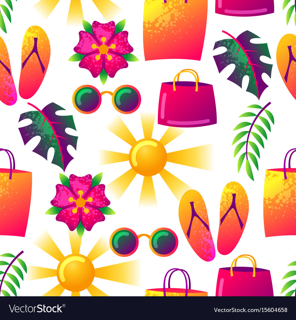 Summer seamless pattern with colorful elements