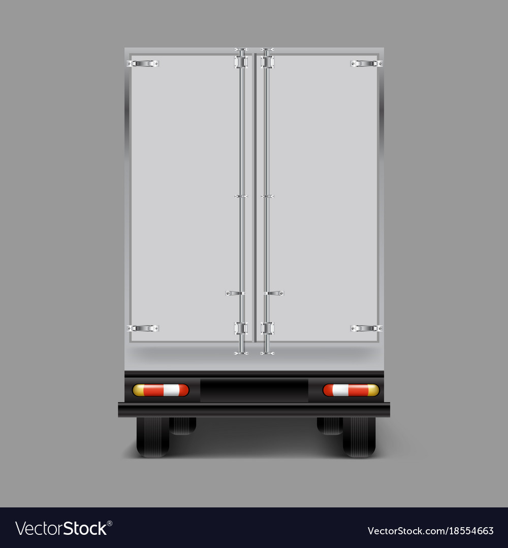 3d realistic cargo truck back view Royalty Free Vector Image