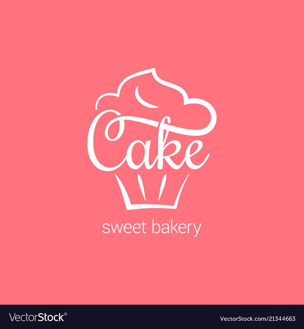 Cake logo of bakery cupcake dessert on pink