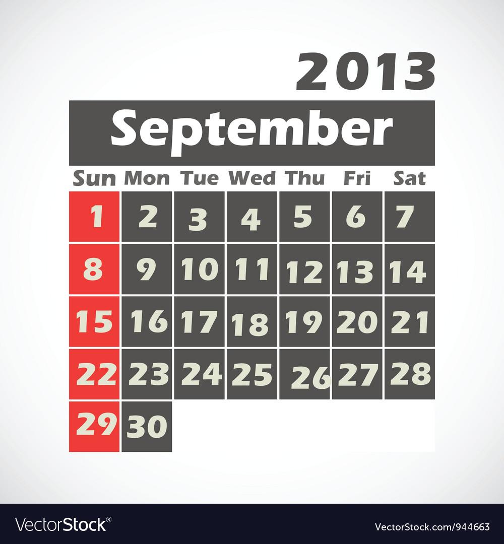 Calendar 2013 September vector image