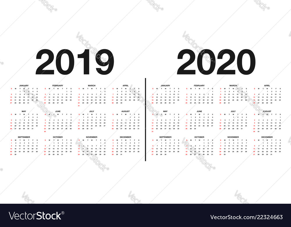 Printable Calendar 2019 And 2020.Calendar 2019 And 2020 Template Calendar Design