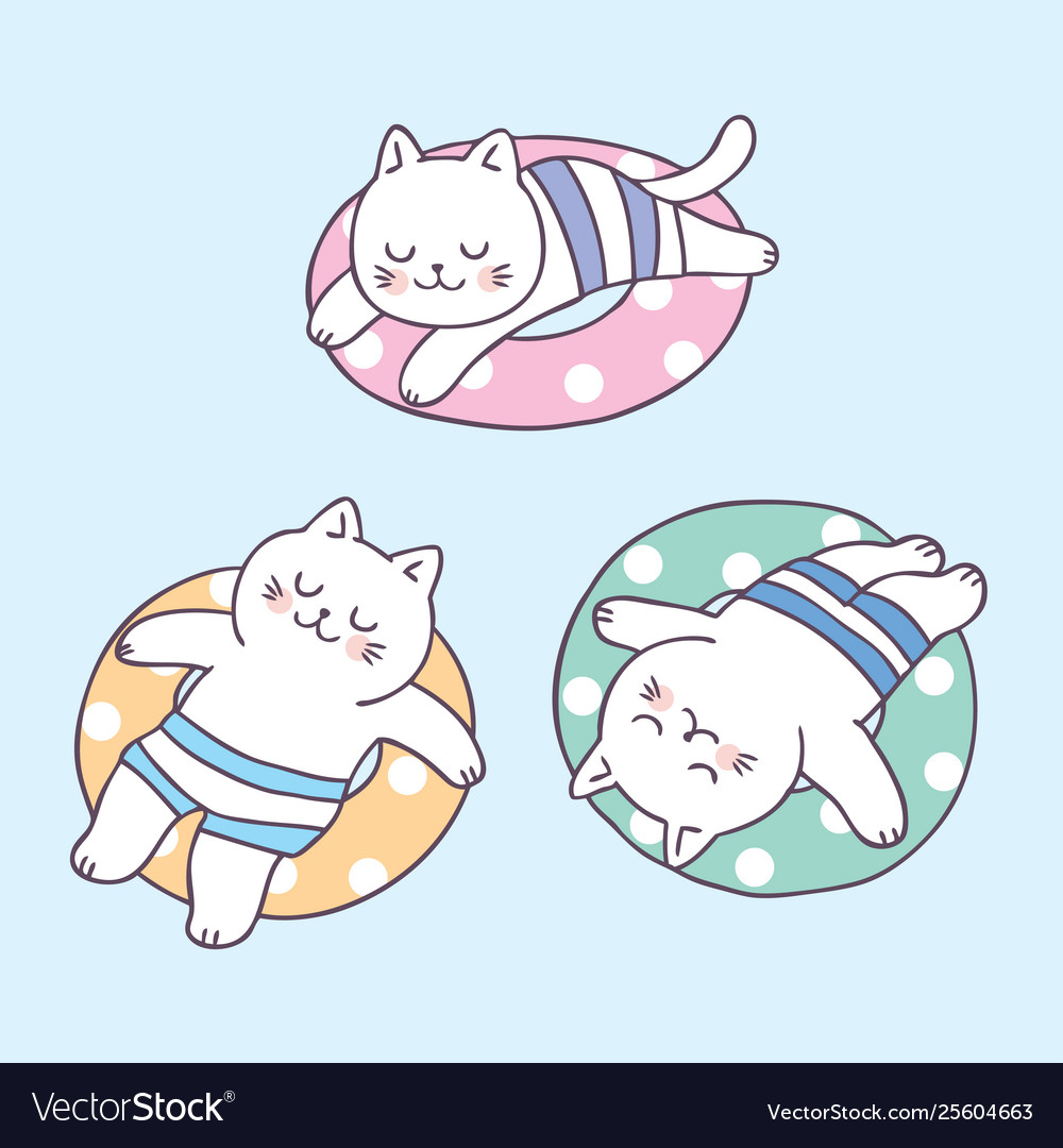 Cartoon Cute Summer Cat Sleeping And Life Ring Vec