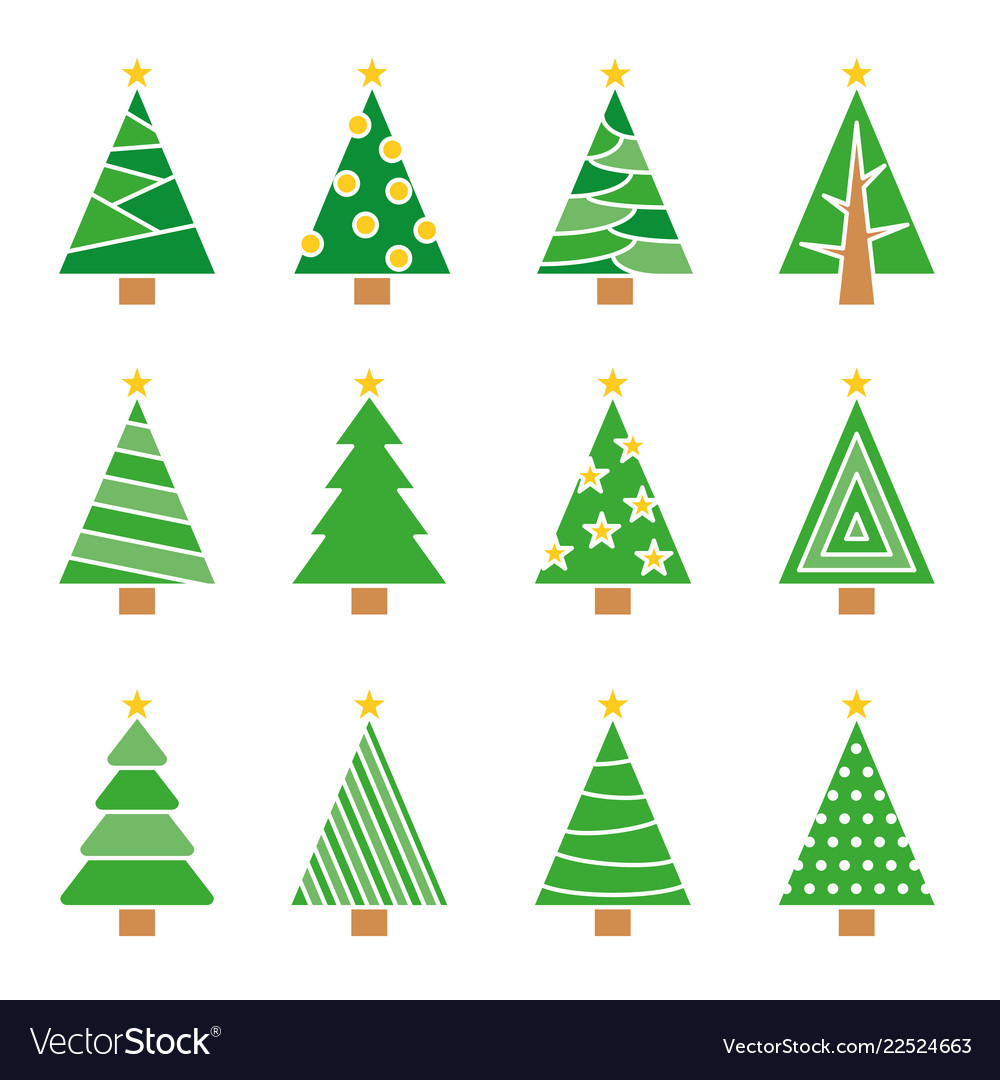 Christmas tree line set concept tree icon