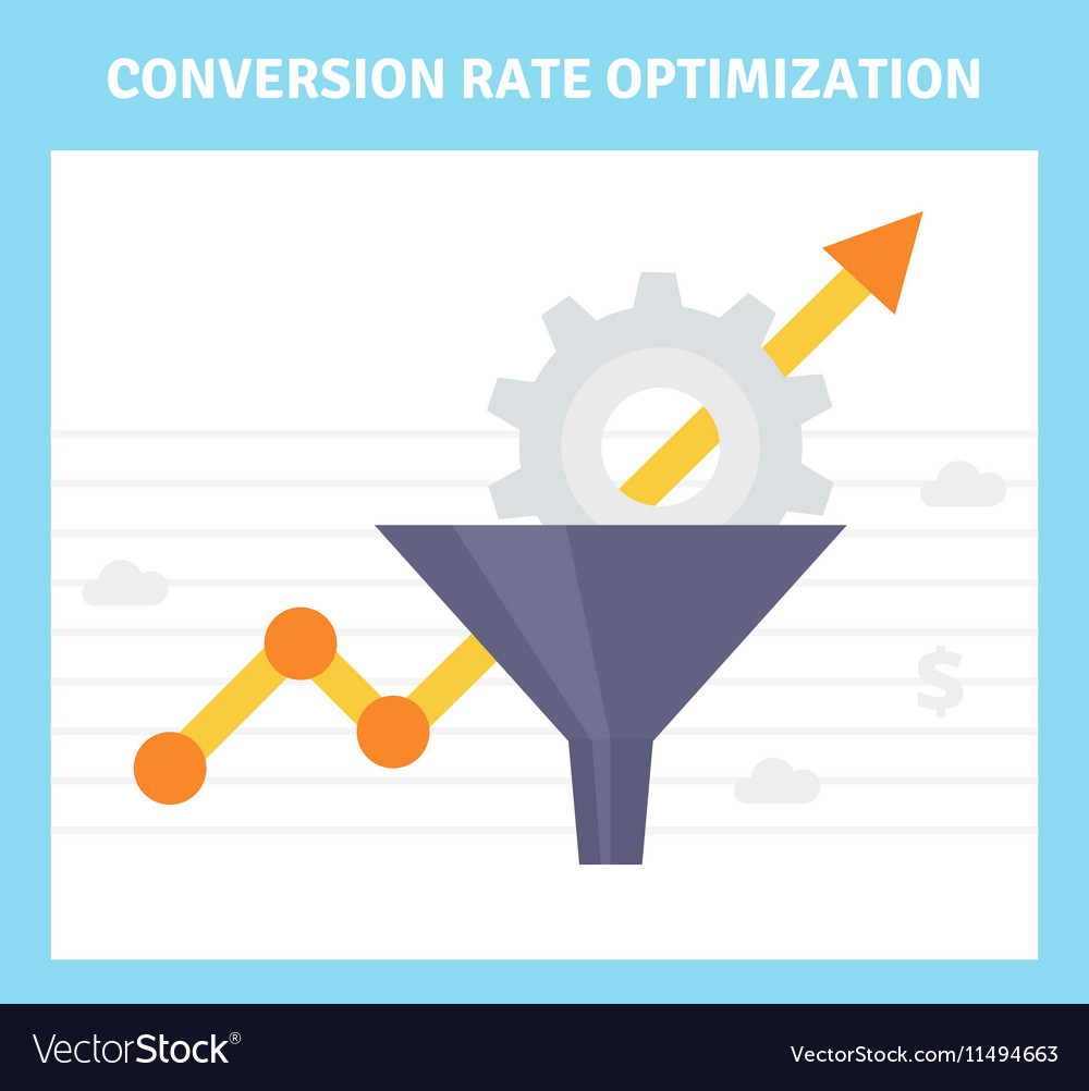 Conversion optimization banner in flat style vector image