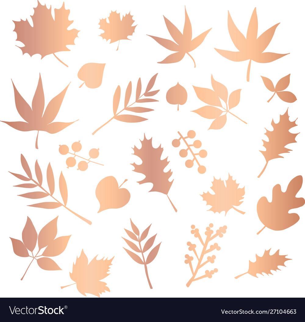 Copper foil leaves icon set foliage nature