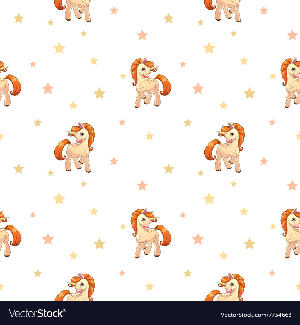 Cute seamless pattern with little cartoon pony