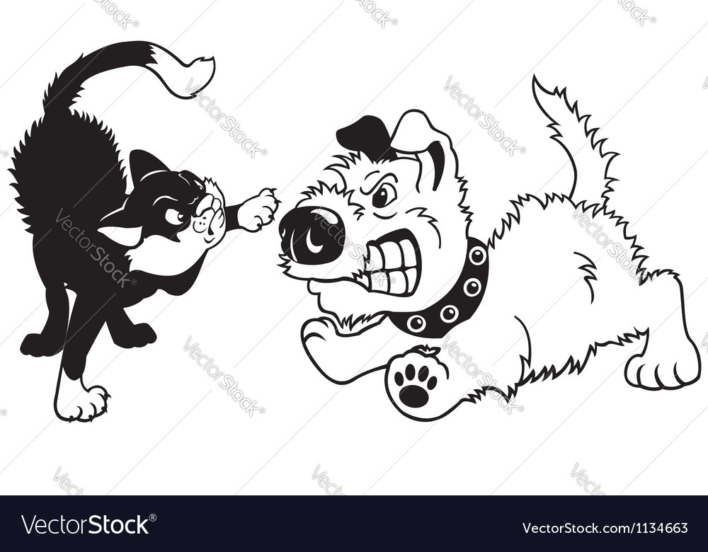 Dog and cat fighting vector image