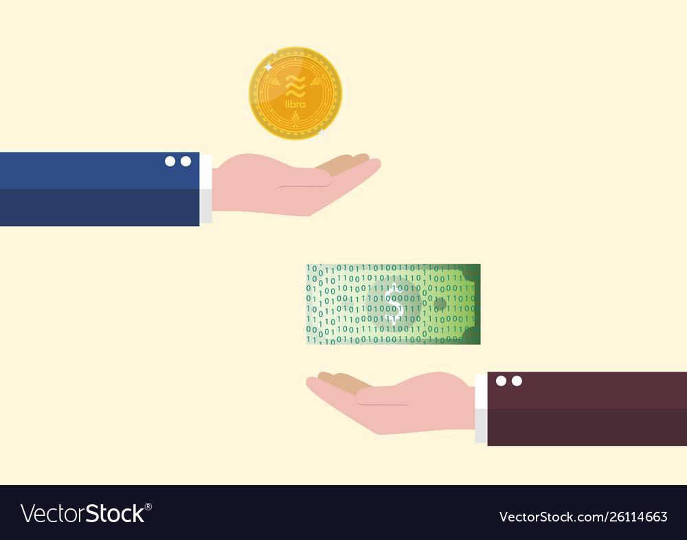 Exchange between libra currency and cash money