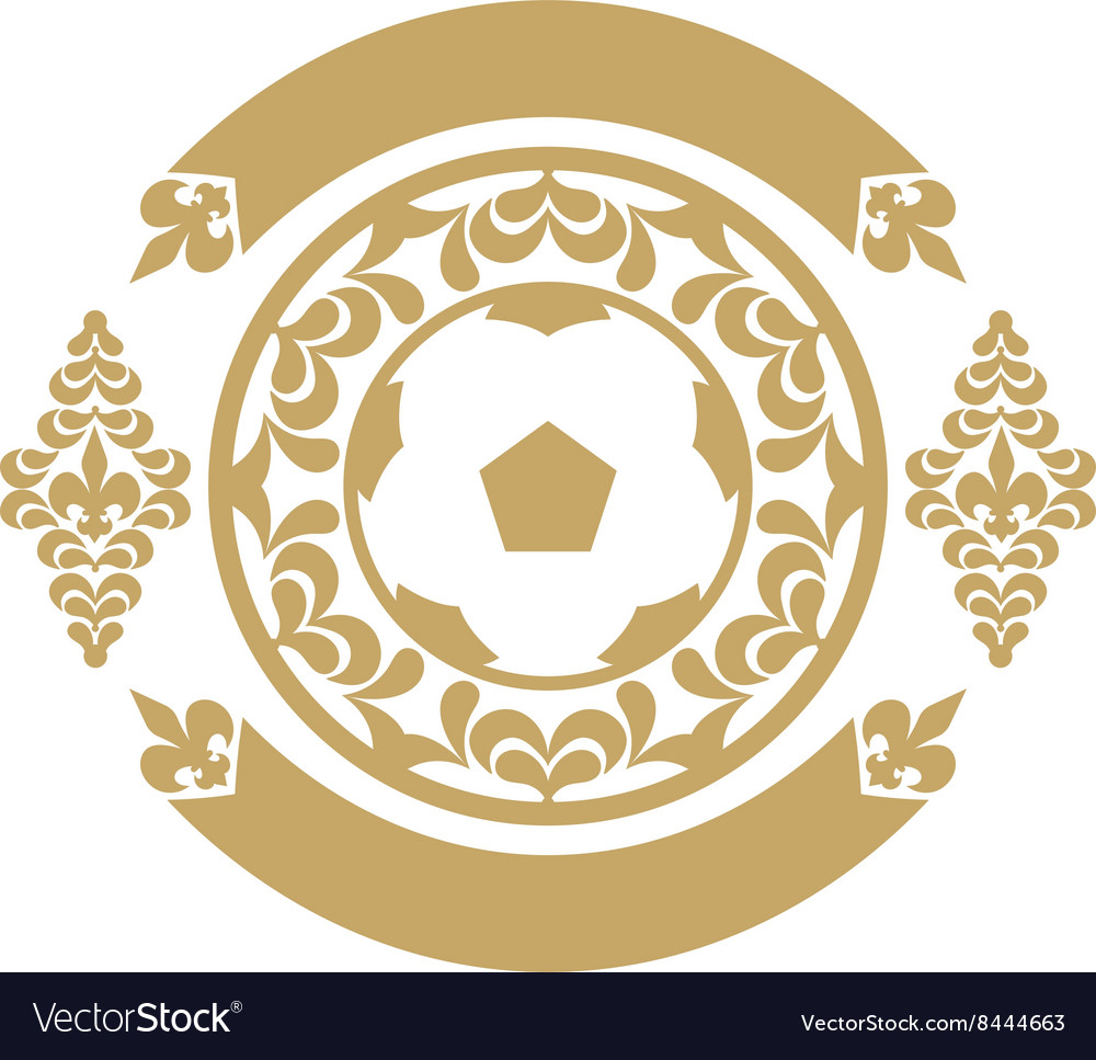 Gold retro the card or an emblem with a soccerball