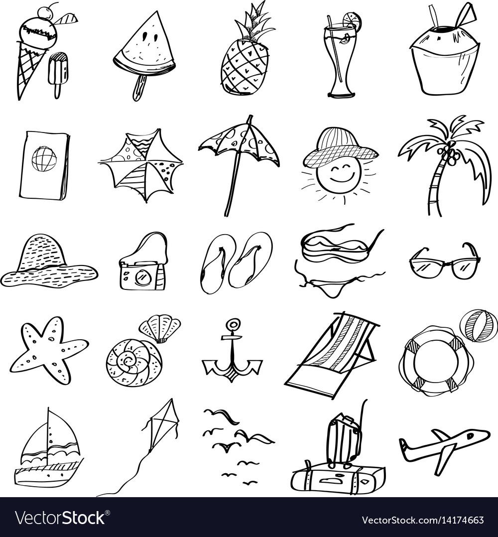 Hand drawn set of summer beach