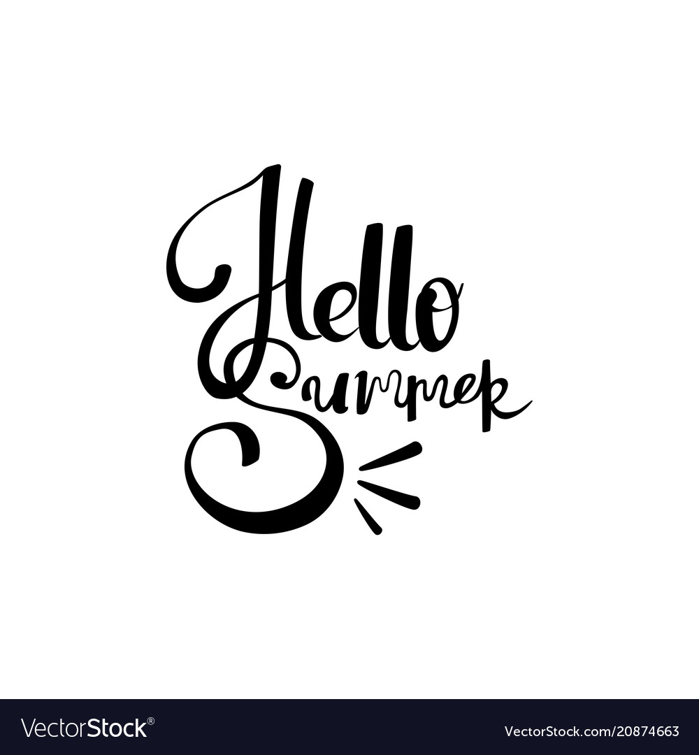 Hello summer hand drawn lettering isolated on