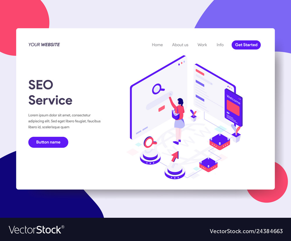 Landing page template of seo service concept