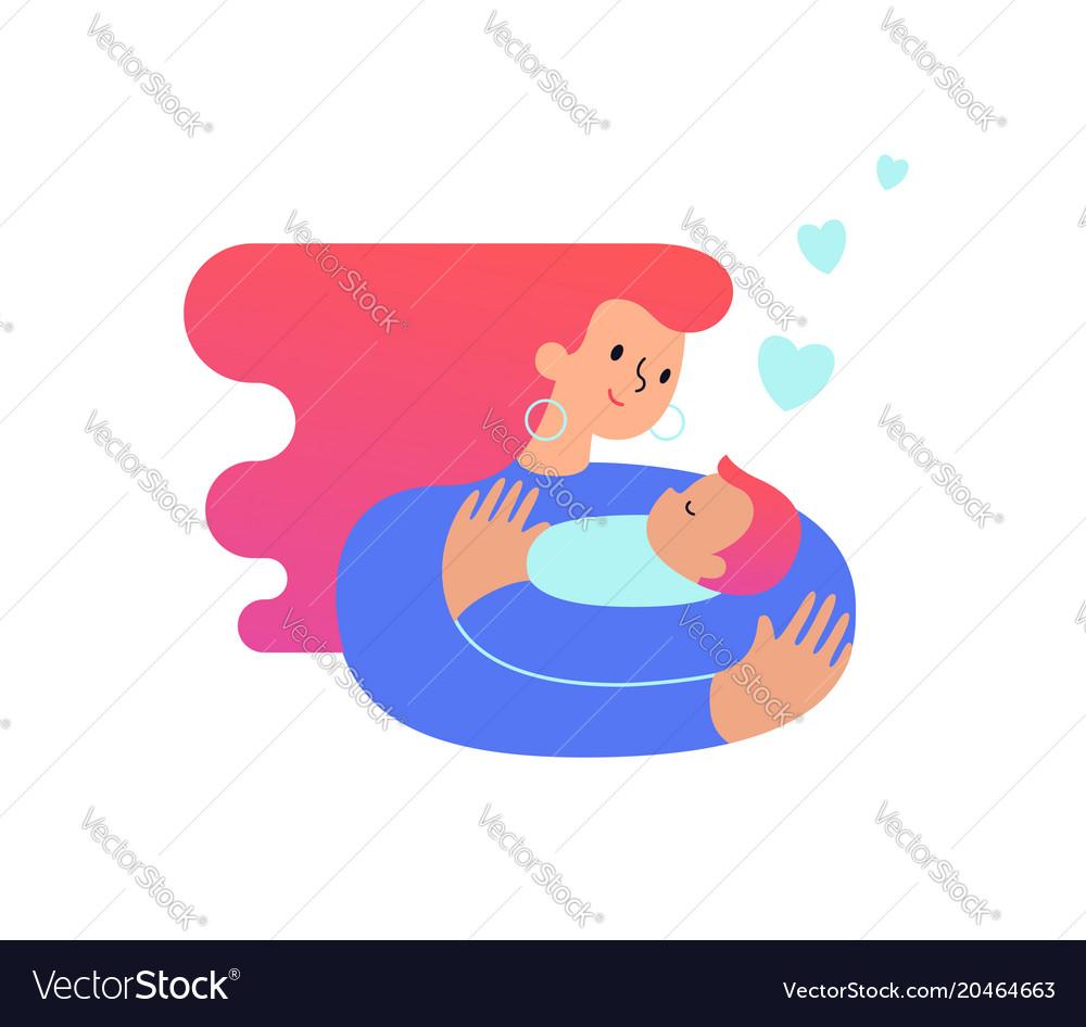 Mom hugging and cuddling her baby boy or girl