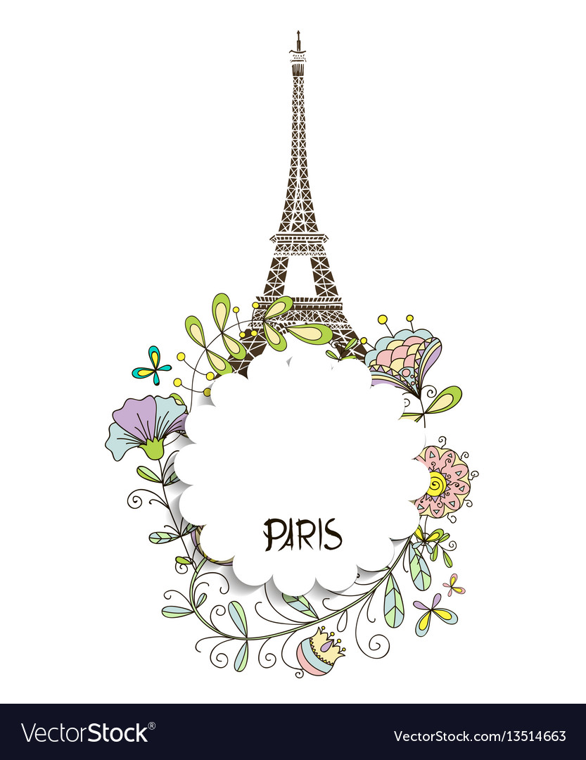 Paris eiffel tower with a floral design