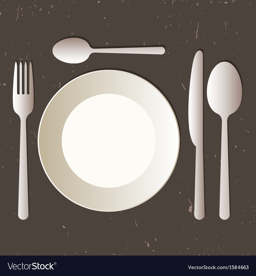 & Place setting with plate knife spoons and fork Vector Image
