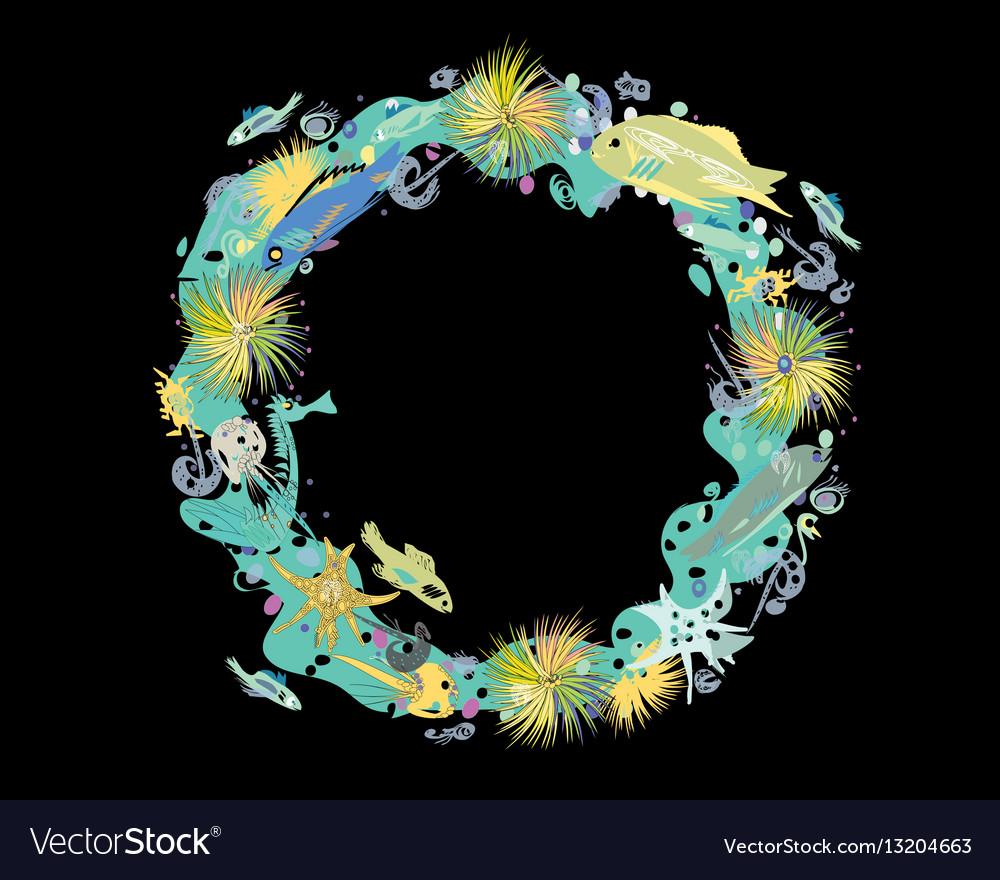Sealife wreath on black