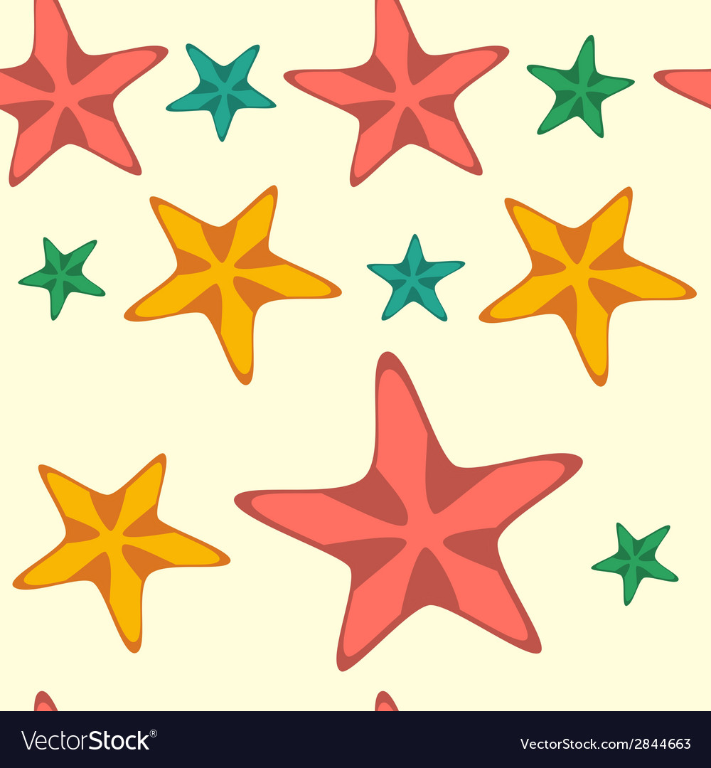 Seamless pattern with cartoon starfishes