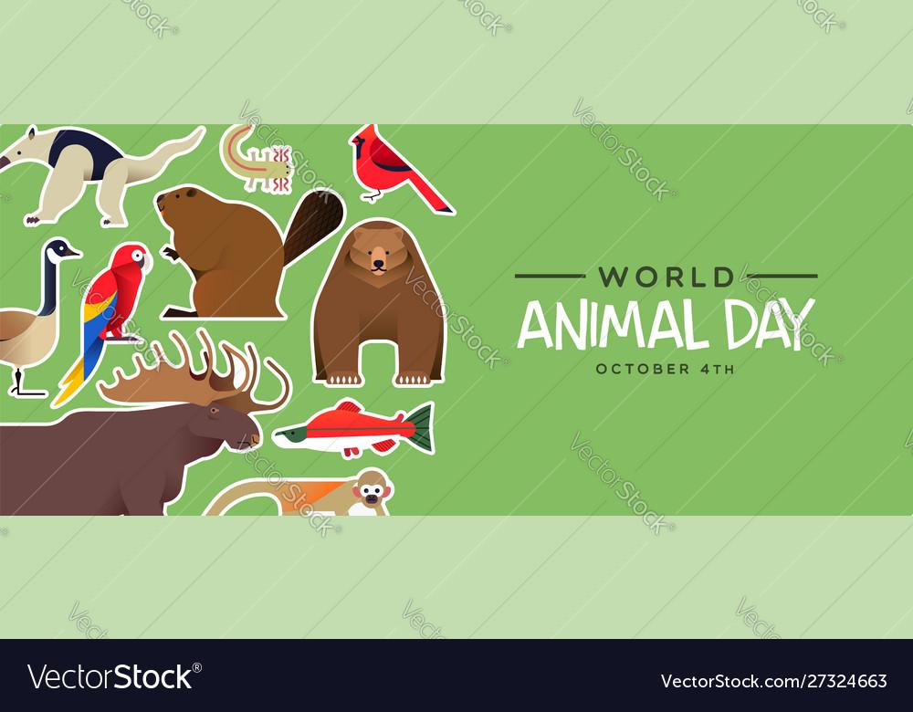 World animal day banner cute wildlife stickers