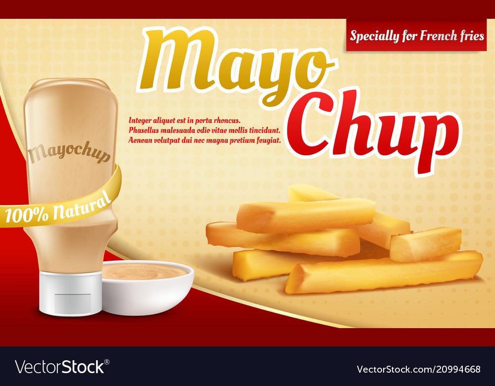 3d realistic ad poster - mayochup sauce
