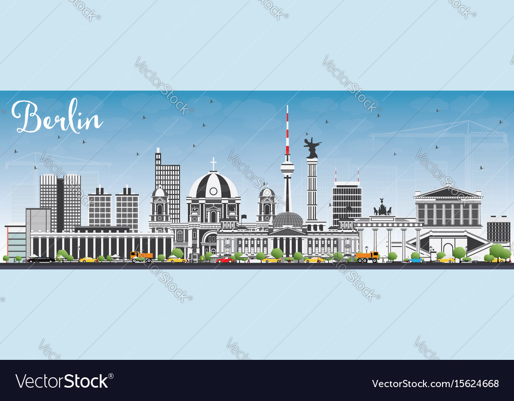 Berlin skyline with gray buildings and blue sky