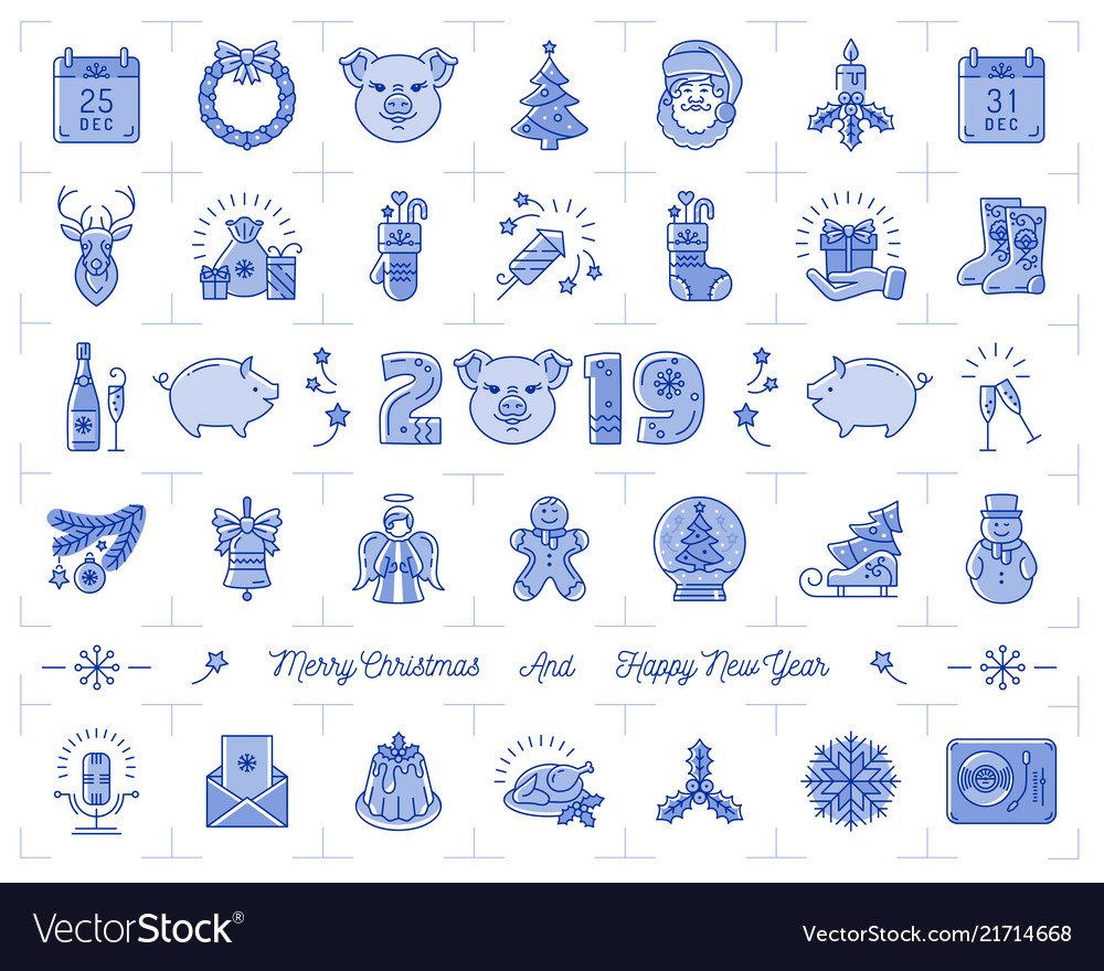 Christmas icons set pig icons chinese zodiac 2019