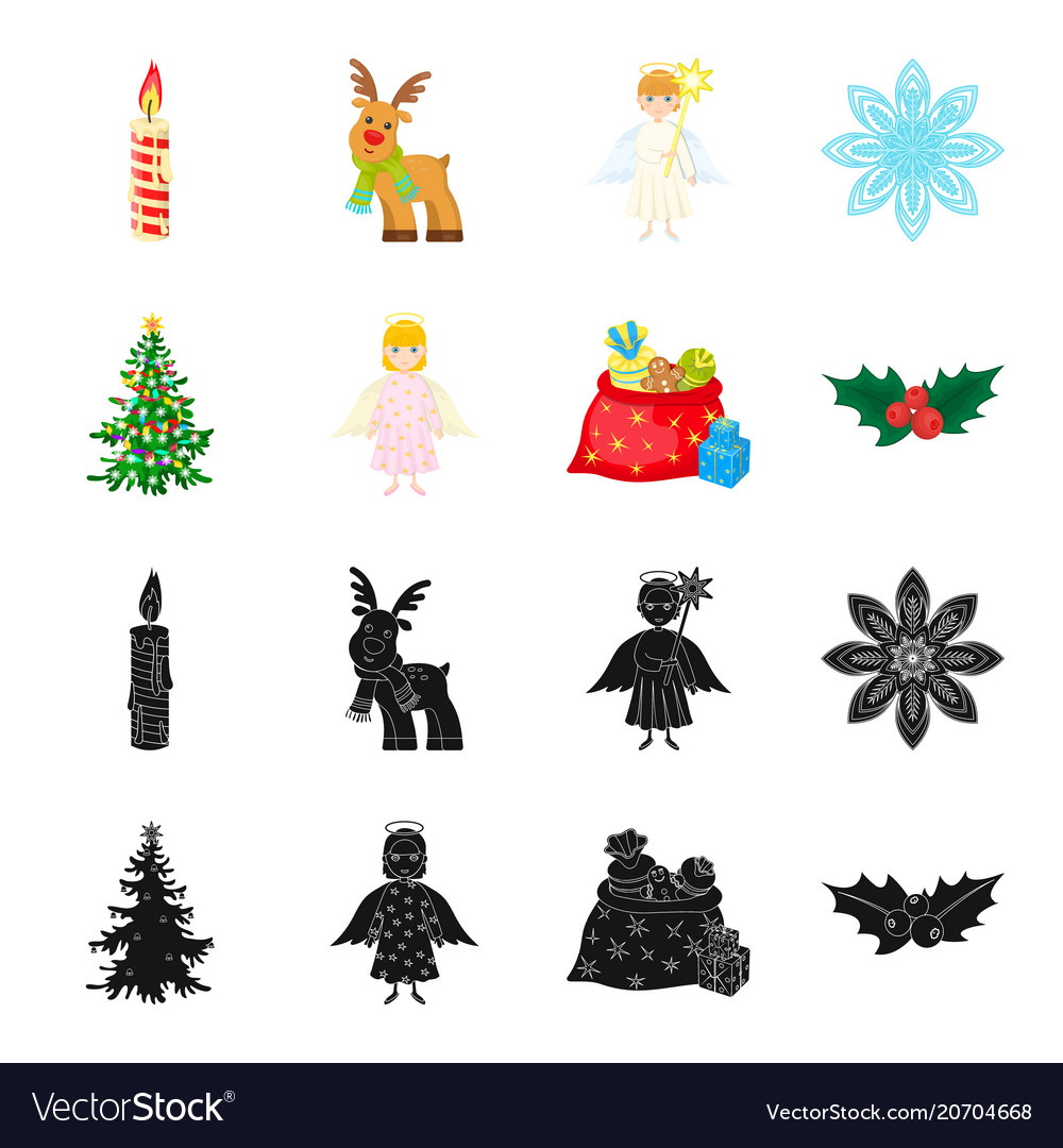 Christmas Tree Angel Gifts And Holly Black