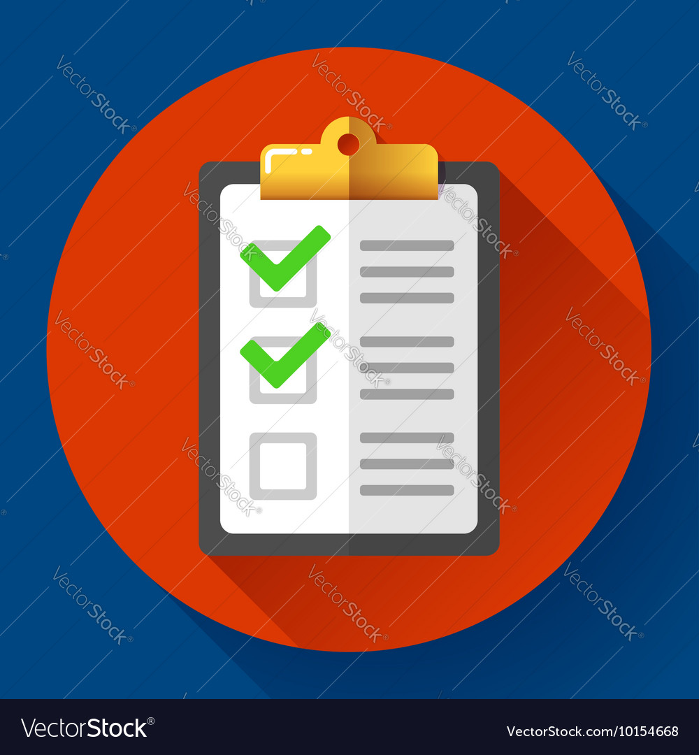 Clipboard with green checklist icon flat