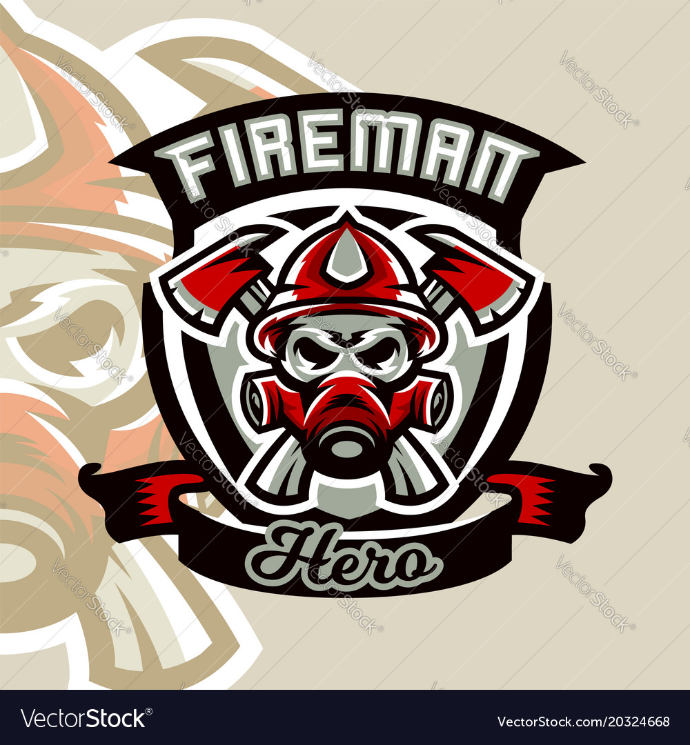 Colorful logo emblem sticker fireman and vector image