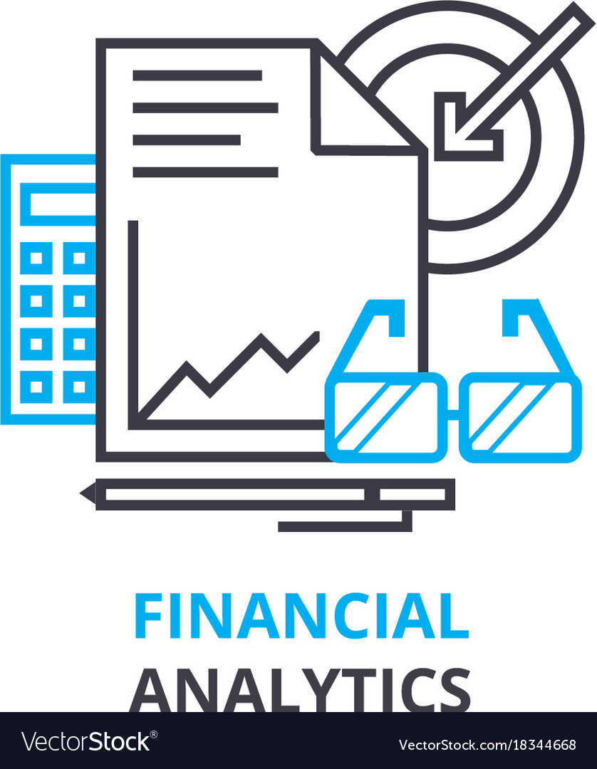 Financial analytics concept outline icon linear