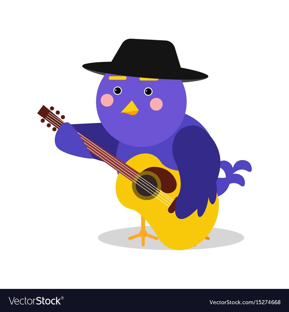 Funny cartoon bird character playing guitar blue vector image