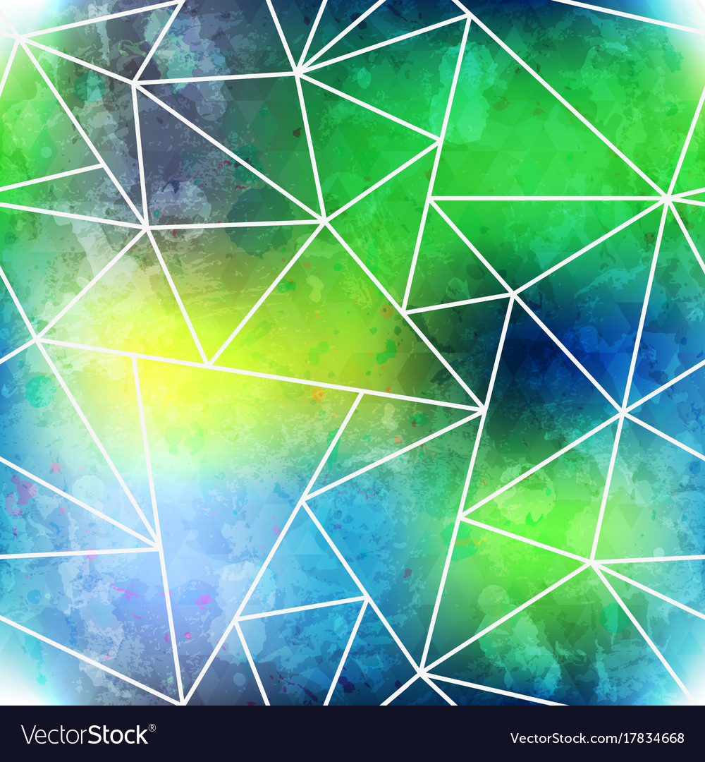 Green triangle seamless pattern with grunge effect