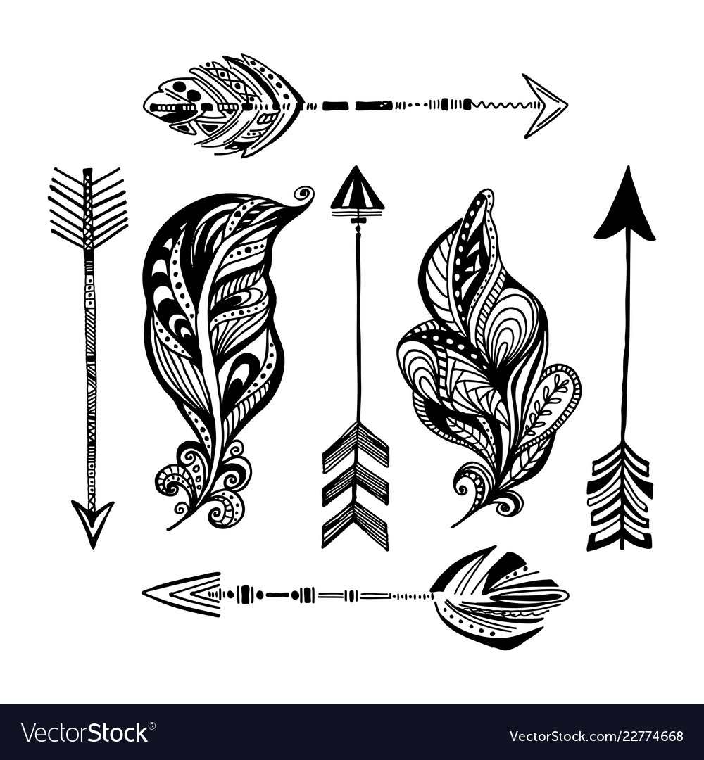 Hand-drawn arrows and feathers boho