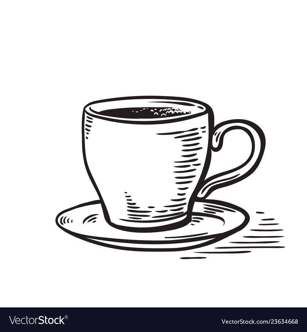 hand drawn sketch black and white cup of tea coffe vector vectorstock