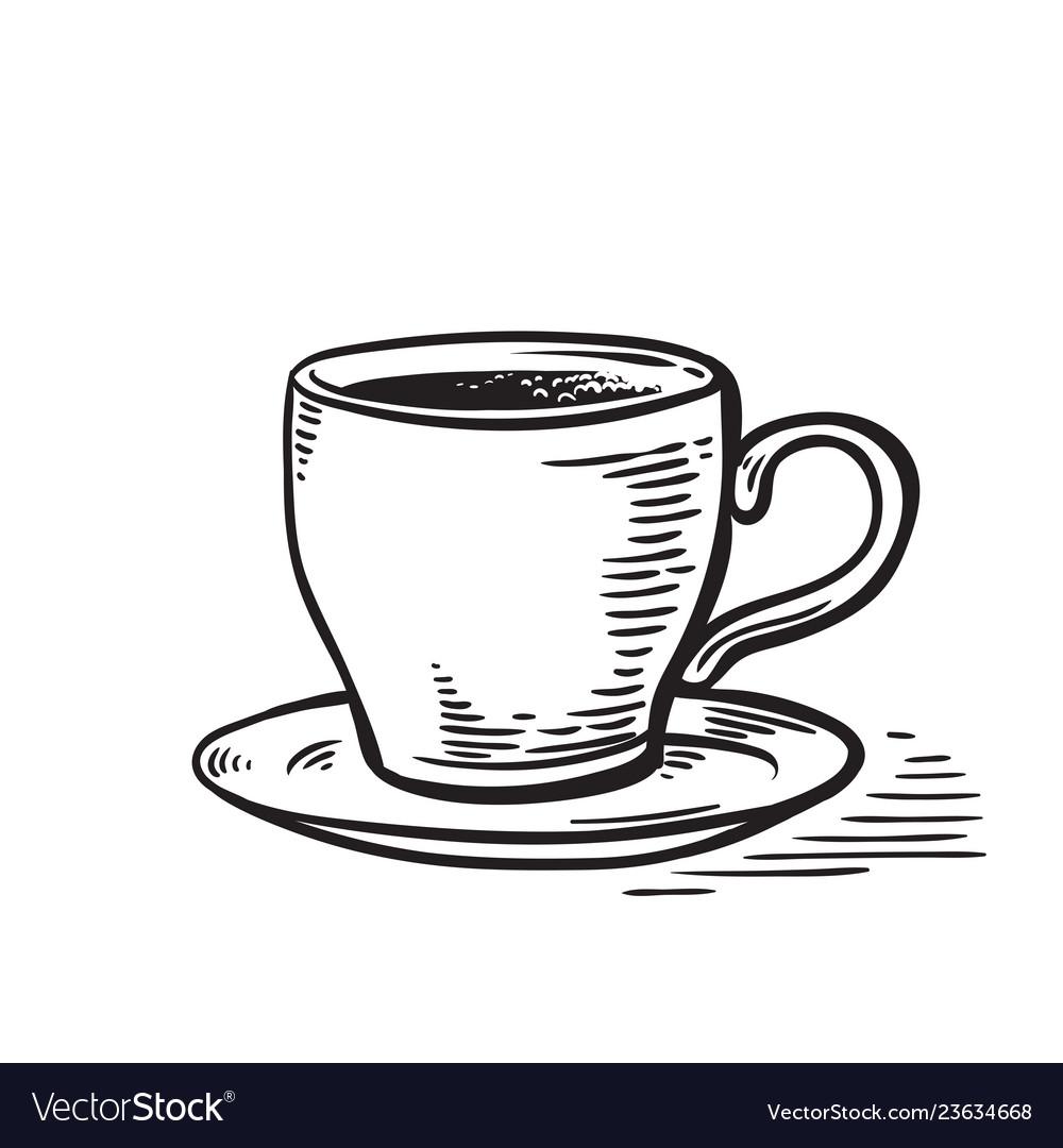 hand drawn sketch black and white cup of tea coffe vector vectorstock