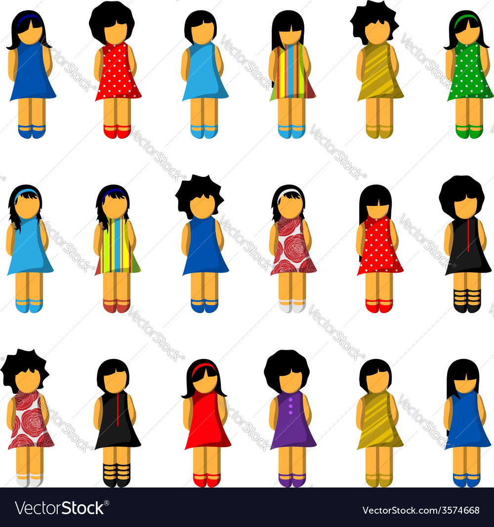 Set of girl icons with colorful dresses