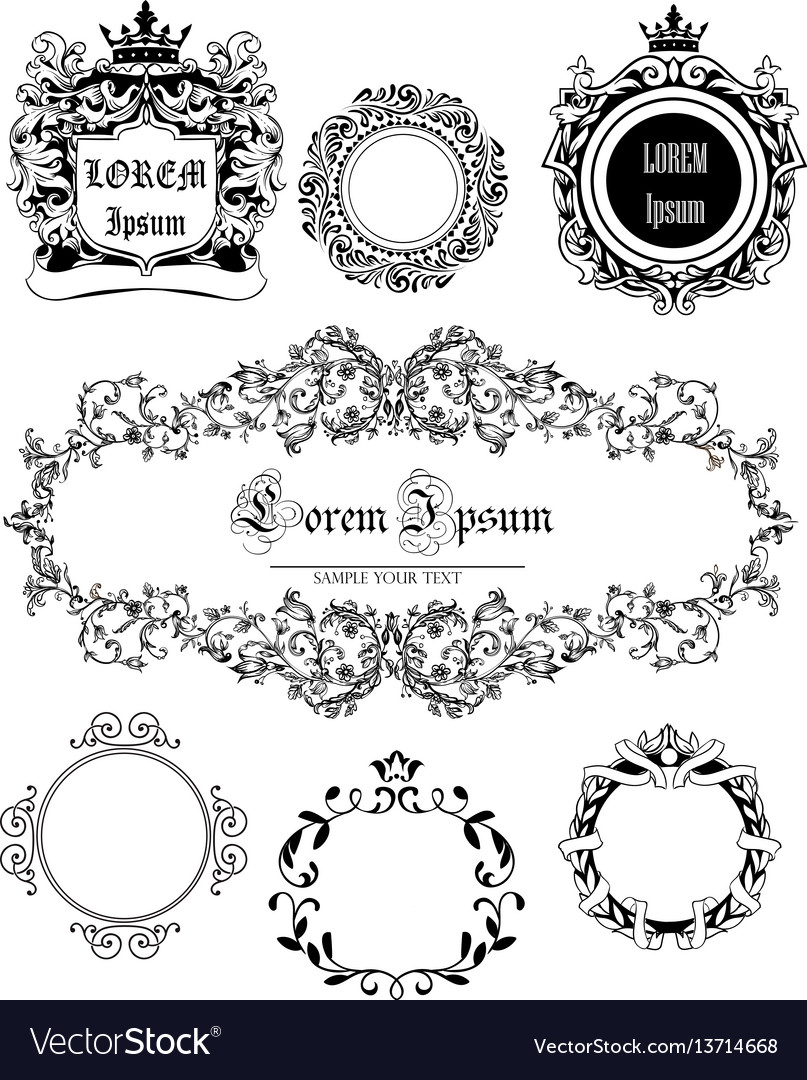 Set with vintage frames