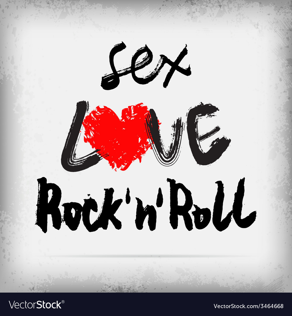Sex LOVE Rocknroll poster design vector image