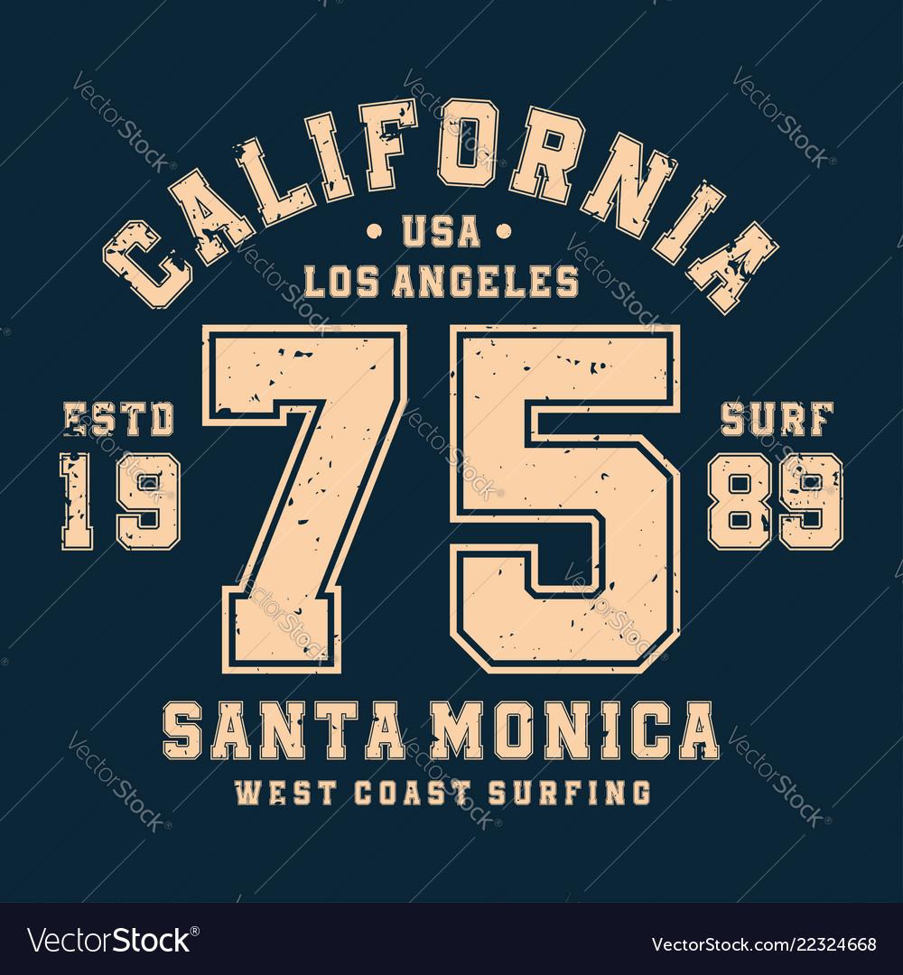 Surfing california t-shirt design badge for