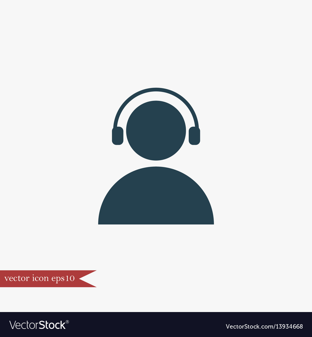 User with headphones icon simple