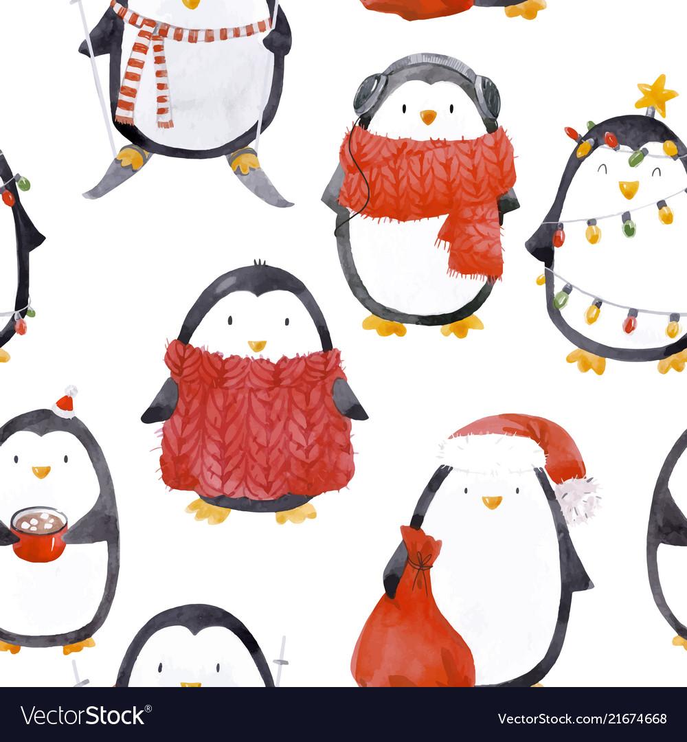 Watercolor christmas bapenguin pattern