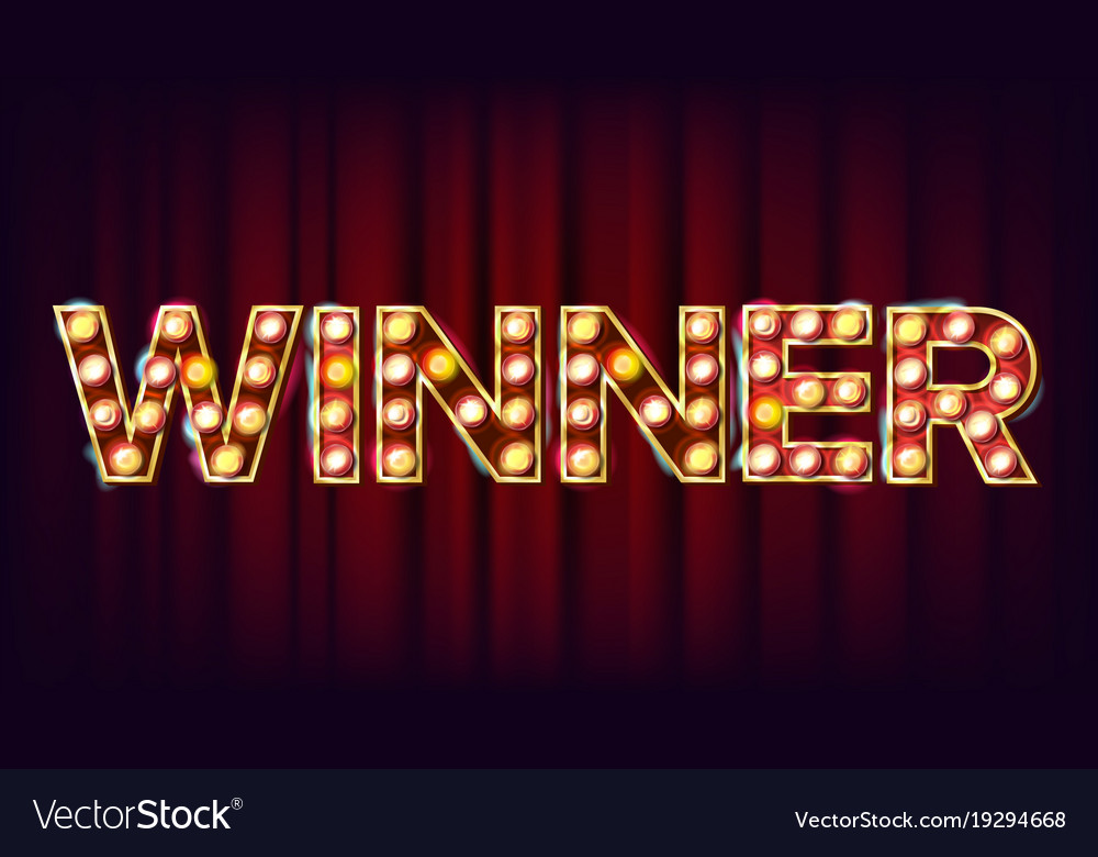 winner banner casino shining lamp royalty free vector image