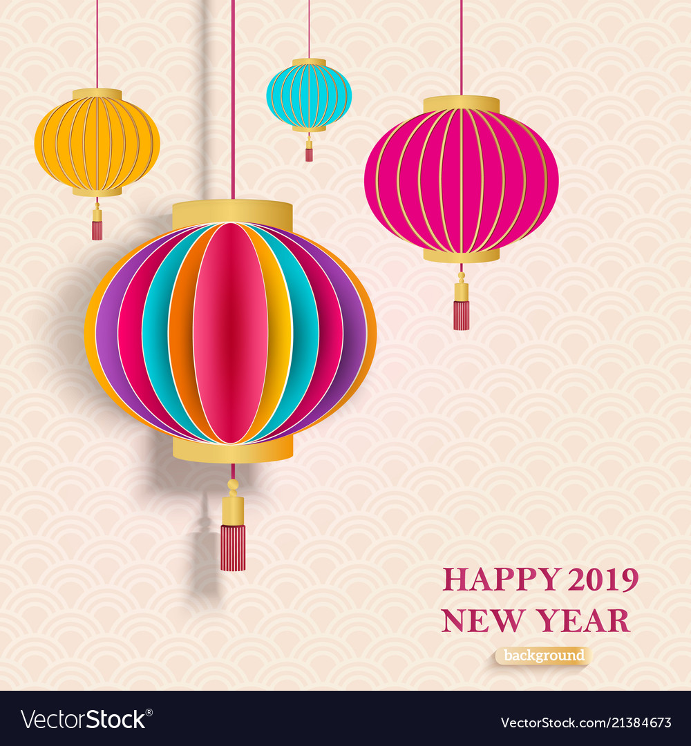 2019 chinese new year greeting card with vector image