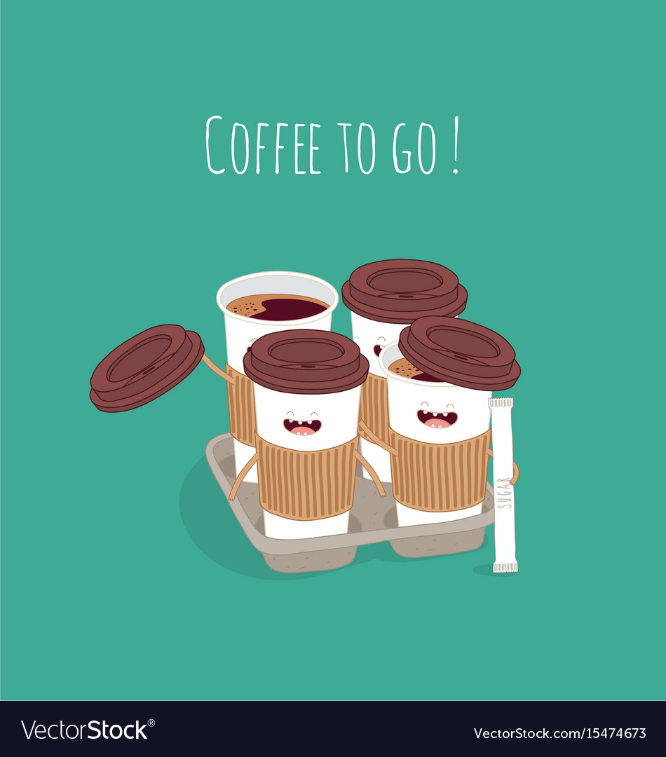 Breakfast funny characters coffee croissant vector image