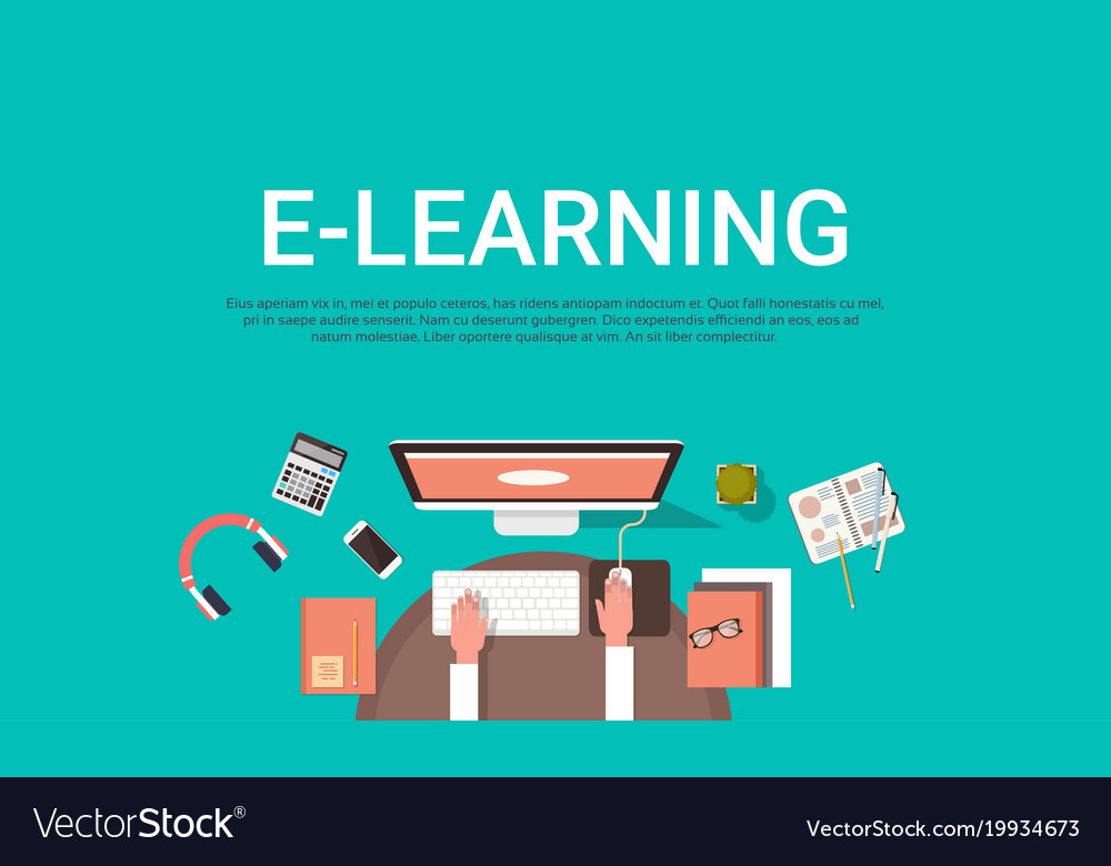 E Learning Education Online And University Banner Vector Image