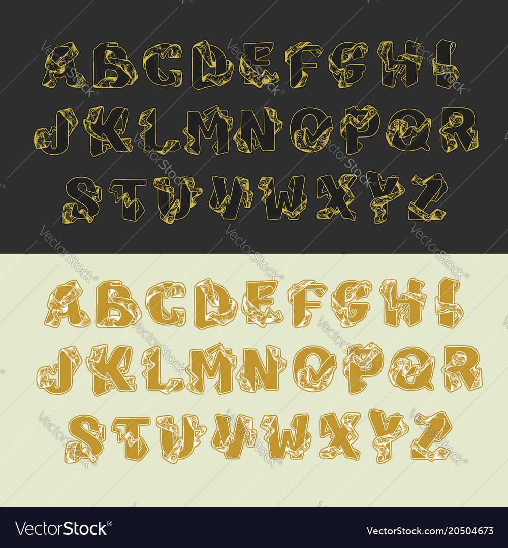 Gold alphabet set of uppercase letters