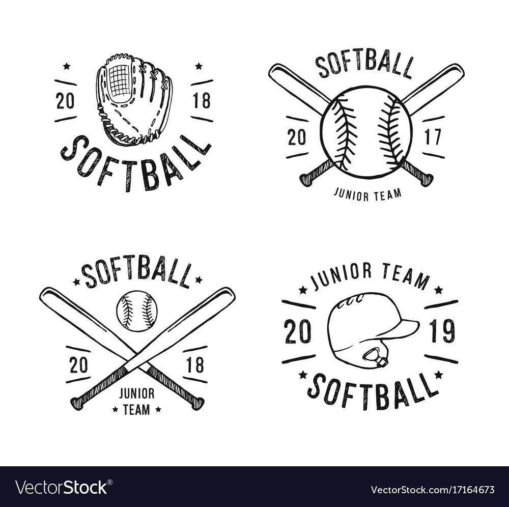 Hand drawn emblem of softball