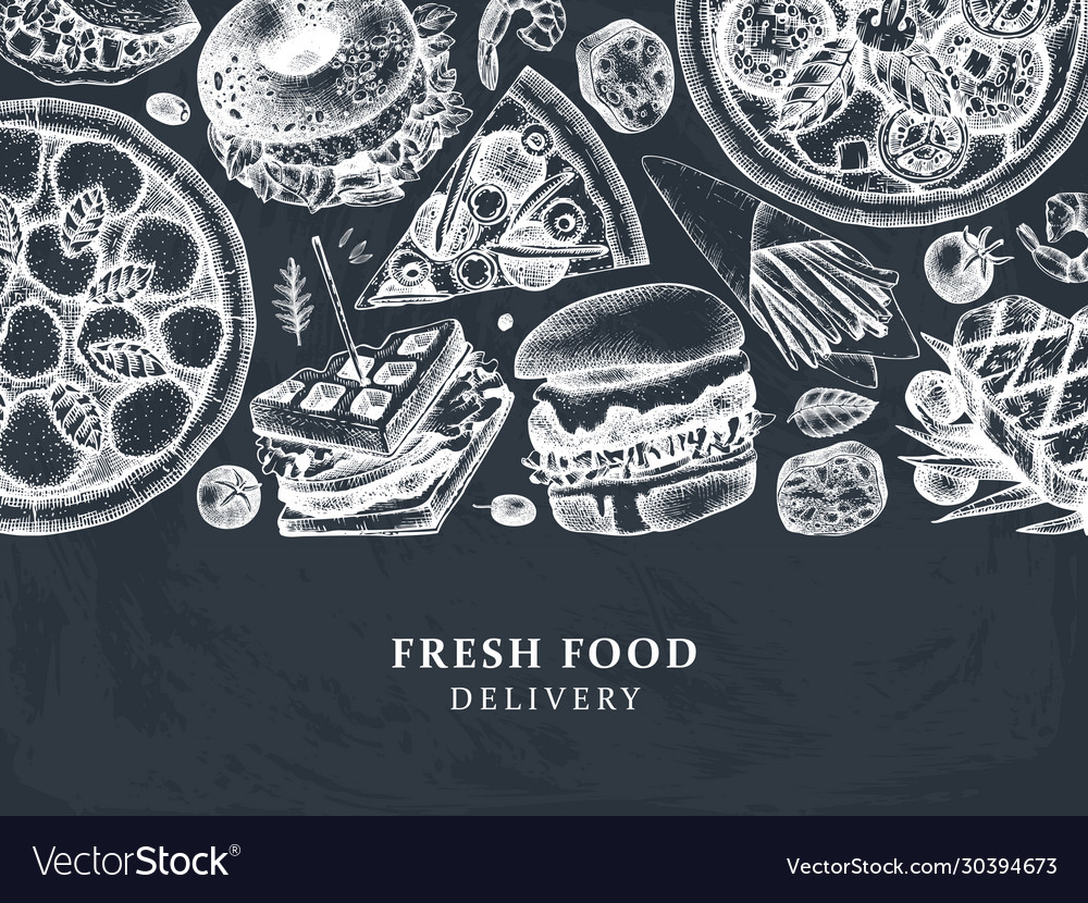 Hand drawn food delivery vintage background for r