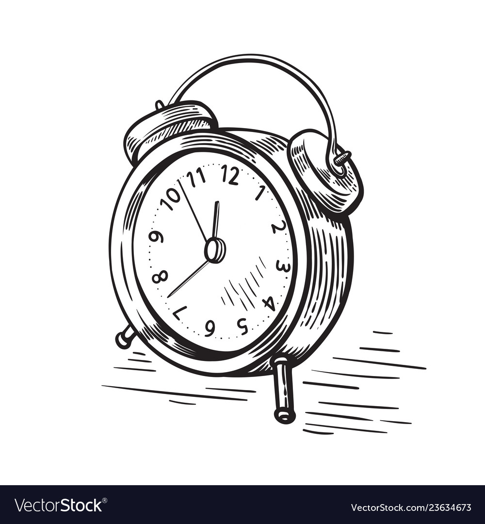 Hand drawn sketch modern old alarm clock
