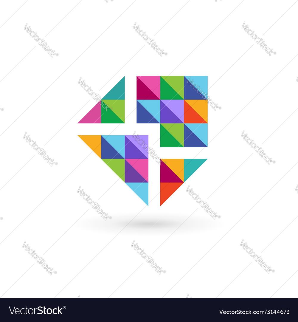 mosaic e mail envelope logo icon design template vector image