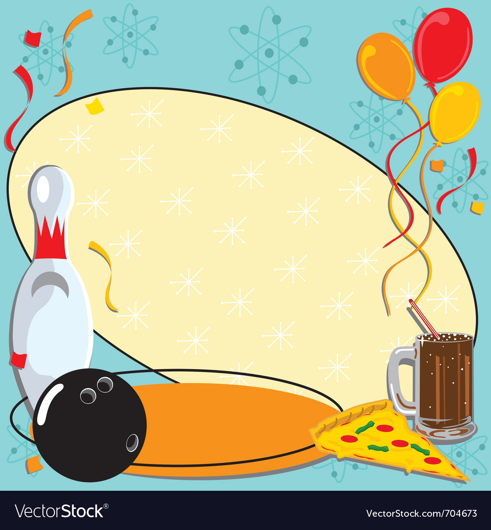 Retro bowling party invitation vector image